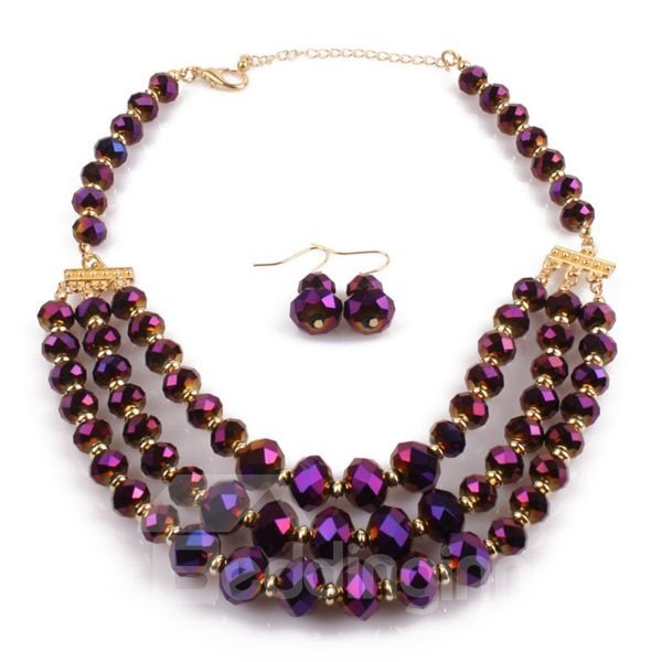 Elegant Four Colors for Choose Gemstone Statement Necklace with Earring