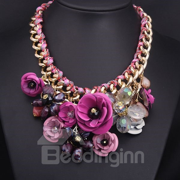 Attractive Flower-Grouped Alloy Chain Necklace
