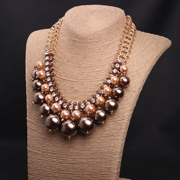 Charming Three Colors for Choose Pearls Statement Necklace