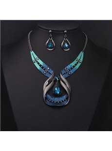 Gorgeous Creative Shape Natural Stone Statement Necklace with Earing