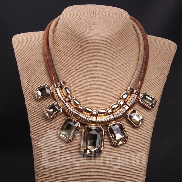Stunning Square Natural Stone Double Layers Statement Necklace