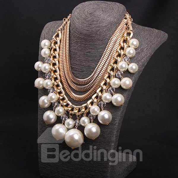 Fabulous Four Layers Pearls Statement Necklace