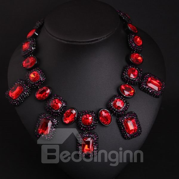 Amazing Square Gemstone Shape Statement Necklace