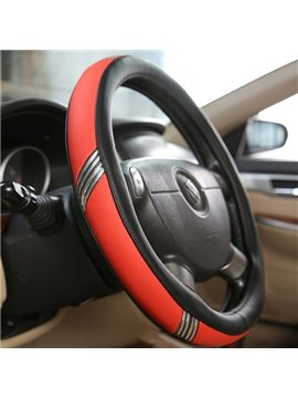 Pure Color With Side Cool Silver Belt Design Medium Leather Car Steering Wheel Cover