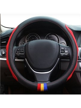 Three Ribbons Embellishment And Side Ribbon Design Leather Car Steering Wheel Cover
