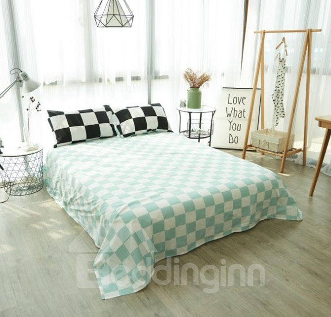 Check Modern Style Cotton 4-Piece Bedding Sets
