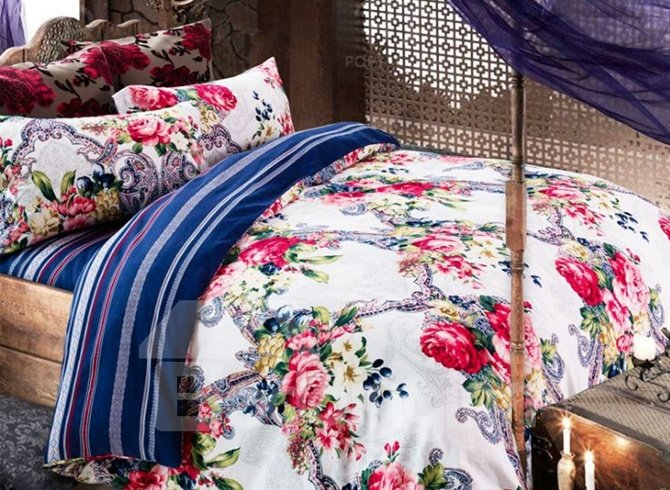 Noble Red Peony Print 4-Piece Cotton Duvet Cover Sets