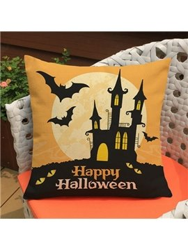Popular Bat and Halloween Castle Print Throw Pillow Case