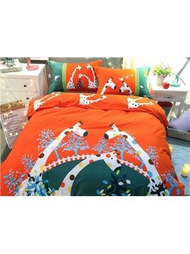 Pretty Cute Giraffe Print 4-Piece Cotton Duvet Cover Sets