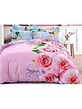 Dreamy Pink Rose Print 4-Piece Cotton Duvet Cover Sets