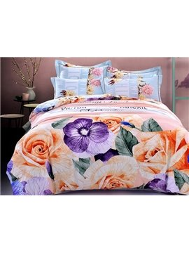 Elegant Vivid Rose Print 4-Piece Cotton Duvet Cover Sets