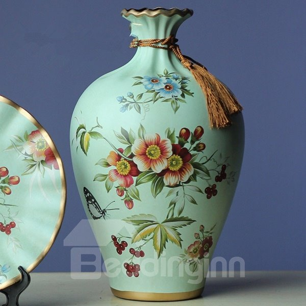 Country Style Ceramic Flower and Bird Pattern Flower Vase and Plate Desktop Painted Pottery