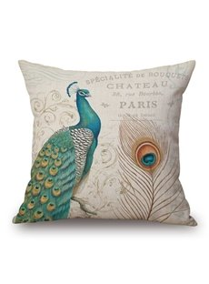 Beautiful Peacock and Feather Print Square Throw Pillow Case