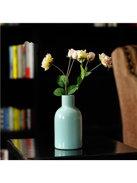 Simple Style Pure Color Ceramic Flower Vase Desktop Decoration Painted Pottery
