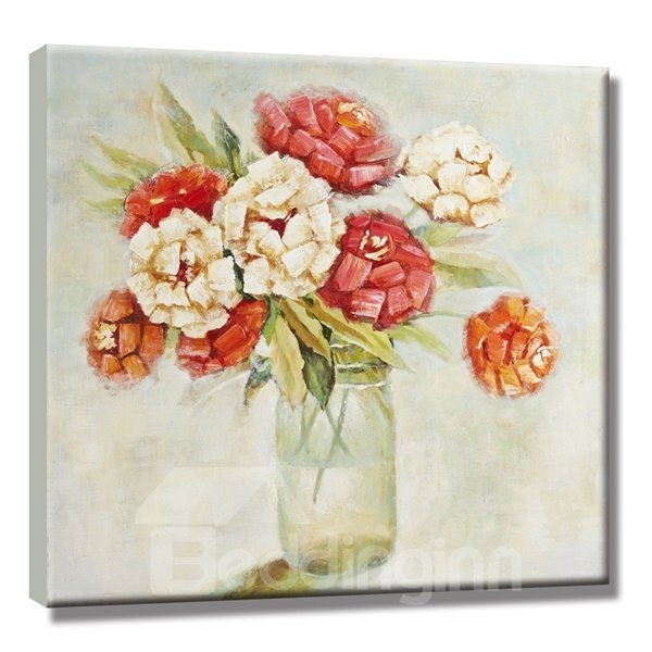 Decorative Flower Vase on Desktop Pattern for Wall Decoration None Framed Oil Painting