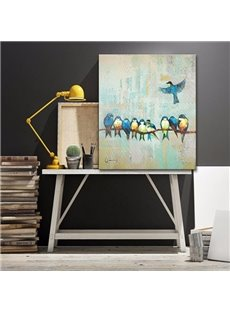 Many Birds Standing on Tree Branch None Framed Decorative Oil Painting