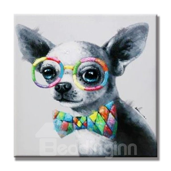 Cute Dog with Colorful Tie and Glasses Lovely Style None Framed Oil Painting