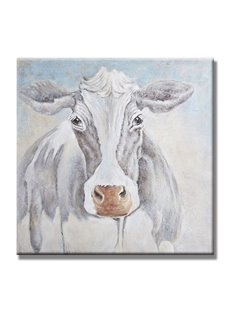 Vivid White Cow Pattern Ready to Hang None Framed Oil Painting