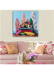 Colorful Three Cool Cats Pattern Canvas Stretched None Framed Oil Painting