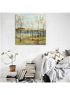 Natural Riverside Forest Scenery Pattern None Framed Oil Painting