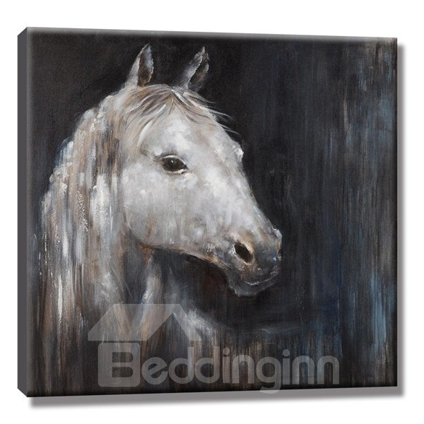 Black Background with White Horse Pattern None Framed Oil Painting ...