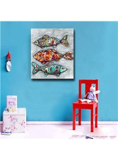 Modern Creative Design Three Colorful Fishes Pattern None Framed Oil Painting
