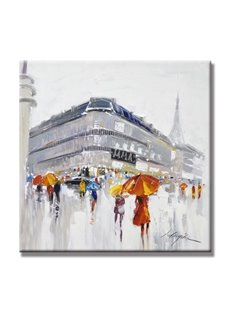 Realism Square People Walking in the Rain Pattern Canvas Stretched None Framed Oil Painting