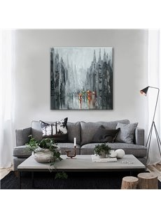 Black Square City Scenery in Rain None Framed Canvas Oil Painting