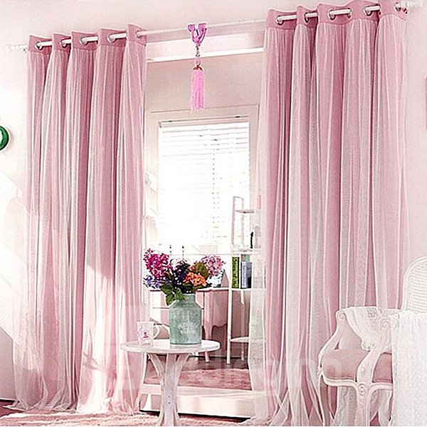 Romantic Pink Sheer and Shading Cloth Sewing Together Grommet Top Custom Blackout Curtains