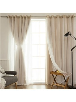 Romantic Beige Sheer and Shading Cloth Sewing Together Grommet Top Custom Blackout Curtains