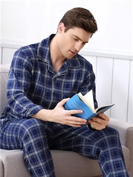 Man Deep Blue Style Attractive Autumn Winter Necessary Hot Pajamas