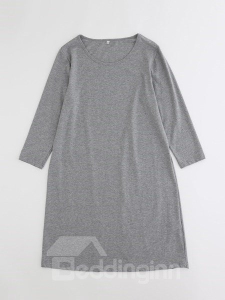 Pure Gray Home Long Skirt Comfortable Cotton Material Pajamas