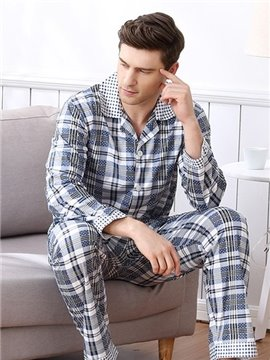 Man Special White Gray Mixed Fashion Style Cotton Material Pajamas