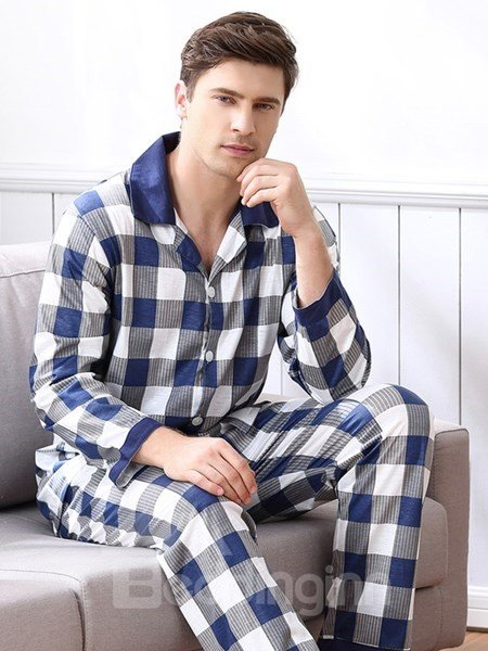 Man White And Blue Mixed Small Square Grid Design Warm Pajamas