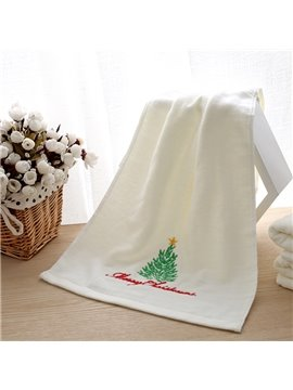 100% Cotton Embroidery Christmas Tree Christmas Theme Face & Hand Towel