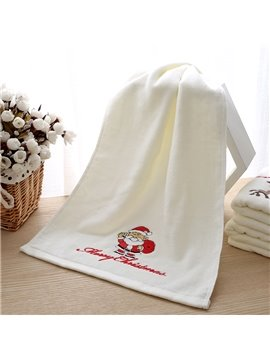 100% Cotton Embroidery Santa Christmas Theme Face & Hand Towel