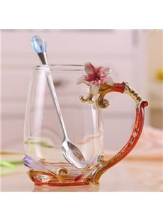 Creative Handmade Enamels Lily Pattern Glass with a Spoon Tea Cup