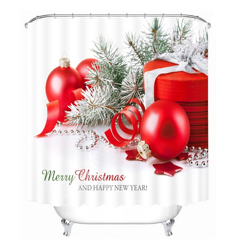 Christmas Gifts and Red Balls Printing Christmas Theme 3D Shower Curtain