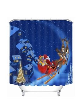 Santa Riding Reindeer in the Snow Printing Christmas Theme 3D Shower Curtain