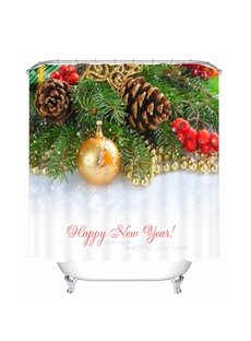 Golden Christmas Balls and Pine-Cone Printing Christmas Theme 3D Shower Curtain