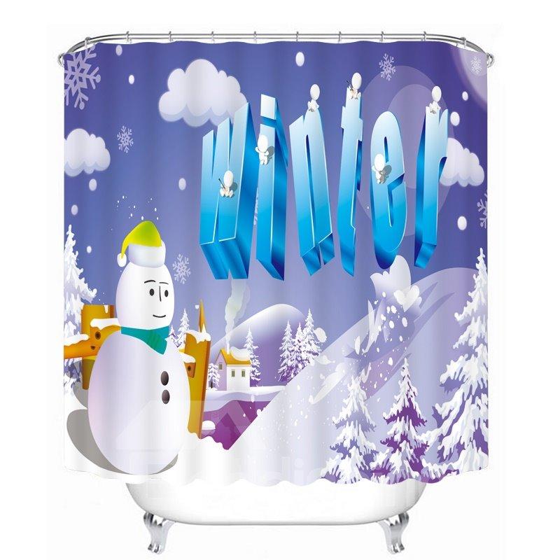 Cartoon Christmas Winter Printing Christmas Theme 3D Shower Curtain