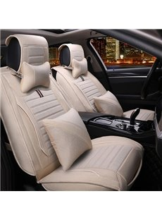 Super Simple Contrast Color Design Good Permeability Flax Universal Car Seat Cover