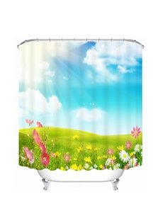 Sun Shine Glass Land and Flowers Printing 3D Shower Curtain