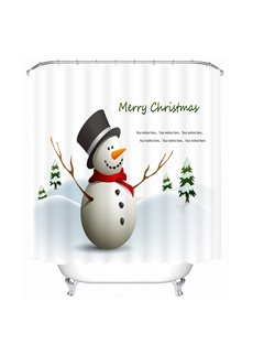 Cute Snowman with Red Scarf and Black Hat Printing Christmas Theme 3D Shower Curtain
