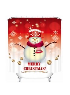 Cartoon Snowman with Red Scarf and Hat Printing Christmas Theme 3D Shower Curtain