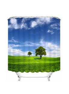 Trees in Blue Sky and Green Grass  Printing Bathroom Decor 3D Shower Curtain