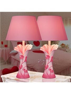 Two Pieces Simple Creative Pink Flower Pattern Decorative Table Lamps