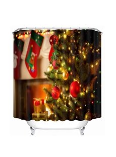 Dreamy Christmas Tree with Light On Printing Christmas Theme 3D Shower Curtain