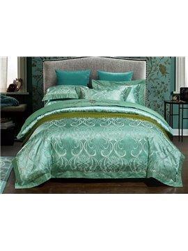 Opulent Turquoise Jacquard 4-Piece Duvet Cover Sets