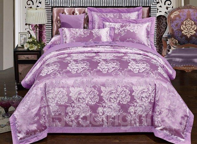 Beautiful Peony Purple Jacquard 4-Piece Duvet Cover Sets